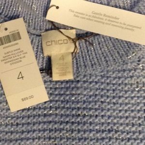 CHICO'S 2X pullover SWEATER size 4=20/22+ BLUE